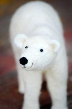 Polar Bear  Sculpture Needle Felted Animal Art by BearCreekDesign, $200.00