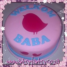 Bird Silhouette Baby Shower Cake