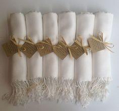 Set of 7 Ivory Shawls with Favor Tags Pashmina by YadisCloset, $77.00