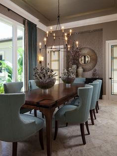 Live Love in the Home: 10 Popular Interior Design Photos - Dining Room Collection Dining Room Furniture, Dining Room Table, Dining Rooms, Room Chairs, Blue Chairs, Dining Set, Furniture Ideas, Dark Furniture, Small Dining