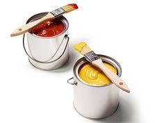 Fun Cooking: A Creative Way to Serve Condiments - put them in mini paint pails (Container Store) with small clean paint brushes