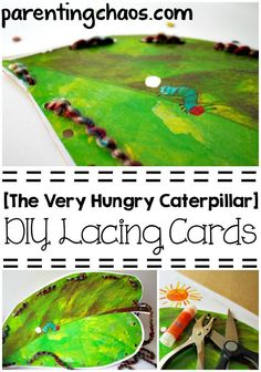The Very Hungry Caterpillar DIY Lacing Cards --A Brilliantly Simple Way to Reuse Your Book Sleeves!