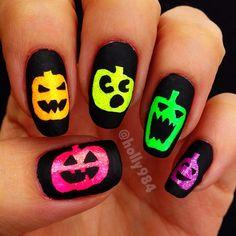 Neon Pumpkin Nails