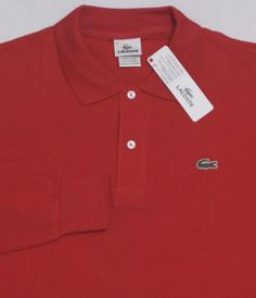NWT-Mens-LACOSTE-Long-Sleeve-Shirt-8-XXL-Red-MESH-Polo-Rugby-100-Cotton-Gator red polo Lacoste shirt