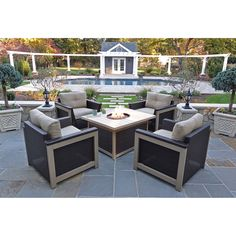 Hanover Montana 5-Piece Fire Pit Chat Set in Tan with 40,000 BTU Fire Pit Table - MNT5PCFPST-TAN