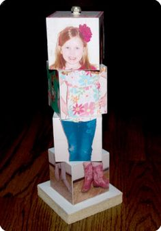 """The perfect """"paper"""" doll for your little one! It's a block doll on a base and dowel rod so none of the blocks get lost! Super easy and cheap to make!"""