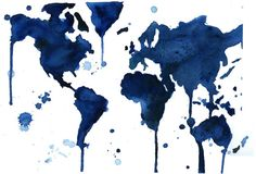 This would look stellar in our bedroom... Watercolor World Map It's  a Blue Blue by JessicaIllustration, $25.00