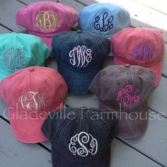 Monogrammed Preppy Baseball Hat by GladevilleFarmhouse on Etsy, $18.00