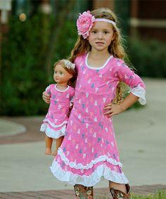 Look what I found on #zulily! Pink & Off-White Ballerina Roberta Dress & Doll Dress - Girls #zulilyfinds