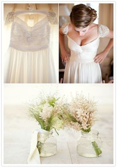 A stunning ruched chiffon dress with a sheer beaded cap sleeve. Fantastic!  Bliss Wedding Blog and Magazine :: collections on love: Inspiration at its Finest