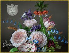 {Dutch Still Life Floral Arrangement Made Out of Gumpaste and Fondant}
