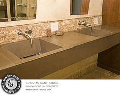 NuCrete™ #concrete from #sonomacaststone does not stain and will not crack. NuCrete™ is an embedded finish in our EarthCrete™ sustainable concrete, guaranteed against staining and structural cracks for 10 yrs. Choose from natural and designer colors. You'll #love the  jaw-droppingly beautiful #sinks and #countertops for the #kitchen, #bathroom or public restroom of your dreams. They're sustainable and Un-stainable. #homedecor #decor #interiordesign #home #architecture #luxury…