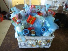 Assortment baby boy gift basket