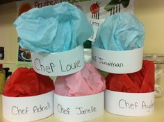 Chef hats for community helper theme and Chef day and cooking!