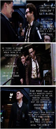 Newmann (Pacific Rim, Newt and Hermann) according to Burn Gorman