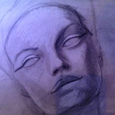 New piece started #charcoal #deity #visionaryart #portraitart #art