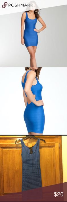 """Bebe blue bodycon dress This sexy Bebe bodycon dress. Never worn! It is sized """"M/L"""". Such a fun dress to wear for a night out! bebe Dresses Mini"""