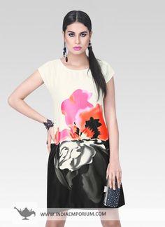Cream & Black Satin Printed Kurti #Summerwear #Kurti #Printed #OOTD #OutfitOfTheSummer #Summertrend #Indiaemporium
