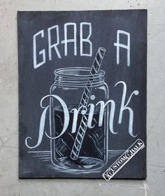 Grab a Drink chalkboard sign - customchalk.etsy.com