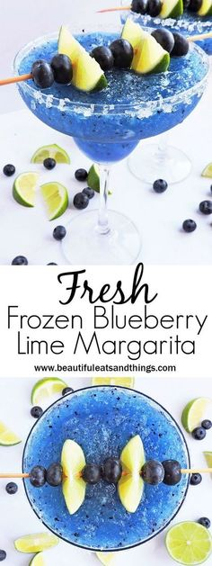 Fresh Frozen Blueberry Lime Margarita - Beautiful Eats & Things - - What's better than an ice-cold margarita? A cold, Fresh Frozen Blueberry Lime Margarita with FRESH blueberries and lime! Beste Cocktails, Healthy Cocktails, Yummy Drinks, Frozen Alcoholic Drinks, Lime Drinks, Good Drinks, Non Alcoholic Margarita, Alcholic Drinks, Frozen Cocktails