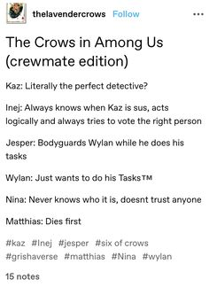 Book Memes, Book Quotes, Crow Books, Crooked Kingdom, The Grisha Trilogy, Leigh Bardugo, Six Of Crows, Book Fandoms, Book Characters