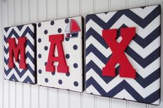 Nursery Letters, Nursery Decor, Upholstered Letters, Personalized, Nursery Art, Navy and White Chevron, Red Letters, Embellishment by deena