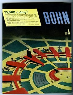 1945 futuristic streamlined airport art Bohn Aluminum print ad