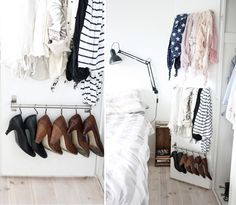 Turn a crate on it's side to make a bedside table and use towel rods on closet doors to hang scarfs