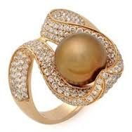 Image result for pearl brown gold rings
