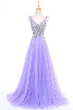 Classic A Line V Neck Sleeveless Lavender Tulle Beaded Prom Dress Nice! Sweet 16 Dresses, Cute Dresses, Beautiful Dresses, Party Dresses, Formal Dresses, Lavender Prom Dresses, Long Bridesmaid Dresses, Prom Dresses For Sale, Homecoming Dresses