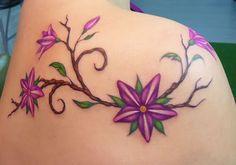 Flower tattoo, pink tattoo, purple tattoo, pink flower tattoo, colourful flowers tattoo, pretty tattoo, beautiful tattoo - Flower tattoos gallery