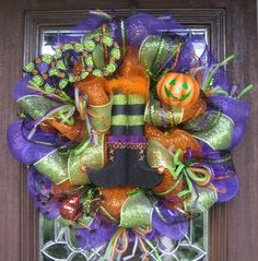 Deco Mesh HALLOWEEN WITCH'S BOOTS Wreath. $115.00, via Etsy.
