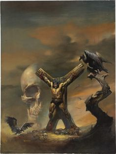 Conan: Tree of Death Giant Skull Vultures Hunger Tortured Crucified by Villain Constantius, Boris Vallejo