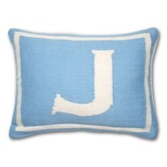 Jonathan Adler Blue Junior Letter Pillow in All Pillows And Throws