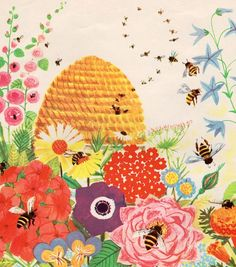 "It's a ""bee thing."" Homes, illustrated by Virginia Parsons I Love Bees, Bee Skep, Bee Do, Vintage Bee, Bee Happy, Save The Bees, Bees Knees, Bee Keeping, Textiles"