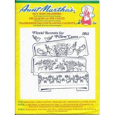 Sewing Pattern Aunt Martha's Hot Iron Transfer Brand New Sealed Embroidery Needlework 3861 Fl. Sewing Pattern Aunt Martha's Hot Iron Transfer Brand New Sealed Embroidery Needlework 3861 Floral Accents for Pillow Cas. Embroidery Transfers, Embroidery Patterns, Craft Patterns, Sewing Patterns, Mom Pictures, How To Make Pillows, Iron On Transfer, Fabric Painting, Vintage Sewing