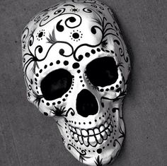Hand Painted Day of the Dead Skull by yellowhallstudio on Etsy  #skull #dayofthedead #diadelosmuertos #sugarskull #halloween #etsy