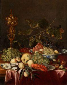 PRÄCHTIGES STILLLEBEN MIT TRAUBEN, ZITRONEN, FLUSSKREBS UND GOLDPOKAL Öl auf Leinwand. Doubliert. 76 x 61 cm. Gerahmt. (1000871) (12) Joris van Son, 1623...