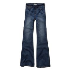 Abercrombie & Fitch High Rise Flare Jeans found on Polyvore featuring polyvore, fashion, clothing, jeans, pants, abercrombie, blue, denim, medium wash and high waisted flared jeans