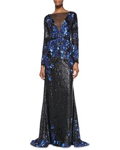 T8C16 Badgley Mischka Collection Long-Sleeve Plunge-Neck Illusion Sequined Gown