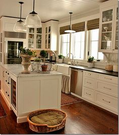 Love the light, openness. Would not have a dog bed in my kitchen.