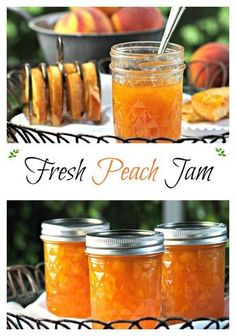 box Fresh Peach Jam - this classic jam is bursting w/fresh peach flavor. Quadruple the recipe to enjoy the just-picked peach goodness all year. Peach Preserves Recipe, Sure Jell Peach Jam Recipe, Peach Jelly Recipe Canning, Peach Marmalade Recipe, Canning Peaches, Do It Yourself Food, Canned Food Storage, Sauces, Deserts
