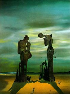 Archeological Reminiscence Millet's Angelus - Salvador Dali - love the color contrast. The lighting