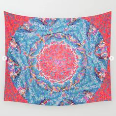 Red and Blue Mandala Tapestry ~ Hippie Boho Decor, Large Wall Art, Stained Glass Design Wall Tapestry, Abstract Art, Geometric Wall Hanging Mandala Print, Mandala Tapestry, Tapestry Wall Hanging, Wall Hangings, Stained Glass Designs, Geometric Wall, Mandala Coloring, Custom Wall, Large Wall Art