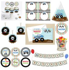 Monster Truck Party  Starter COLLECTION  by TheDigiButterflyPRTY, $45.00