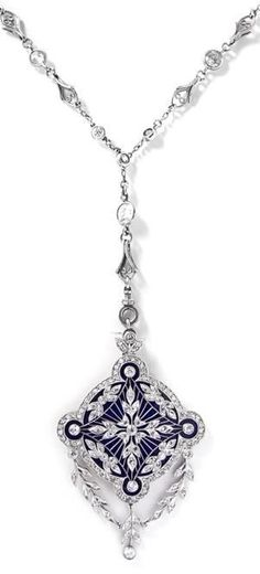 An Edwardian Platinum, Diamond, and Enamel Pendant and Longchain. Of four point star motif within an openwork circular surround overlaid on a blue enamel ground, the pendant suspending a garland motif pendant and containing old European- and rose-cut diamonds, the pendant supported by a longchain necklace composed of old European-cut diamonds in round and lozenge shape bezel settings joined with cable link chain. Hand inscribed: TIFFANY & Co. #Tiffany #Edwardian #necklace