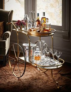Fulk references his favorite 1960s Italian design with the Admiral bar cart.