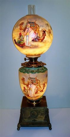 Pairpoint hand painted Gone With The Wind lamp with Mid-Eastern landscape with figures and animals & camels. on Jul 2011 Antique Light Fixtures, Antique Oil Lamps, Antique Lighting, Vintage Lamps, Cool Lighting, Pendant Lighting, Pendant Lamps, Kerosene Lamp, Hurricane Lamps