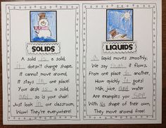 Solids and Liquids Poems - great for work with snow and awesome sight word practice!