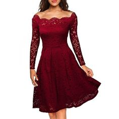 Retro Style Rockabilly Off Shoulder Swing Floral Lace Party Dress (17 BAM) ❤ liked on Polyvore featuring dresses, floral dresses, lace dress, rockabilly dresses, off-the-shoulder lace dresses and lace cocktail dresses